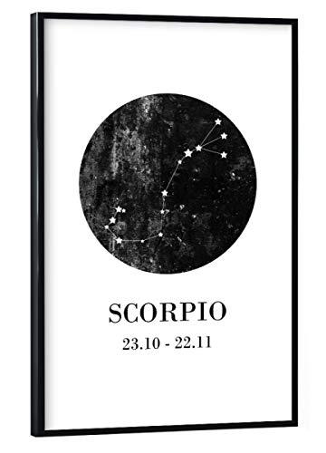 artboxONE Poster mit schwarzem Rahmen 45x30 cm Typografie Skorpion - Bild Zodiac Skorpion Skorpion