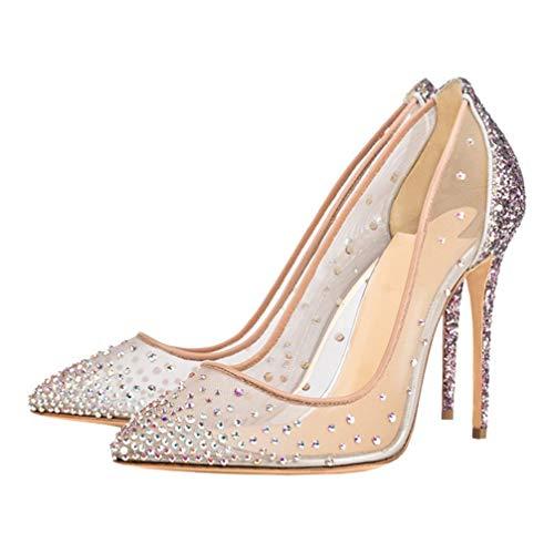 Happyyami Frauen Sexy Pumps High Heel Stiletto Schuhe mit Pailletten Spitzen Zehen Einfädeln Nadel Spikes Heels Strass Gaze Elegant Bequem für Outdoor-Party Ktv Bar