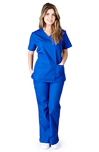 Natural Uniforms Women's Mock Wrap Scrub Set (Dark Royal Blue) (Small)