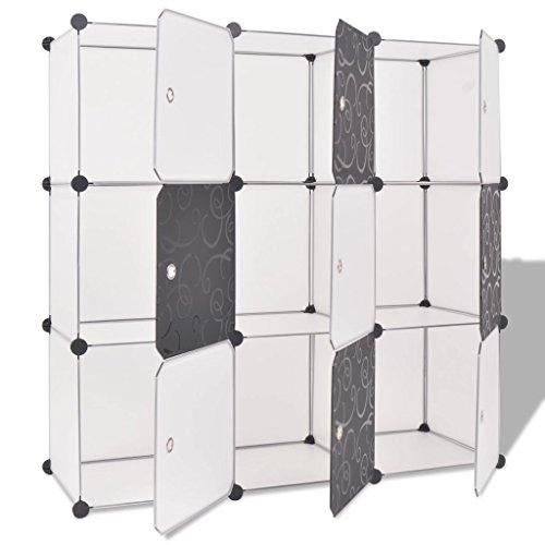 Festnight Würfelregal Regalsystem Steckschrank mit 9 Fächern Schwarz und Weiß