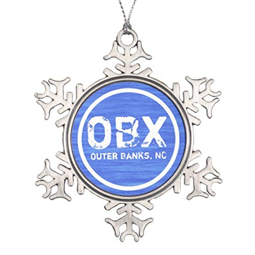 Vehfa Decorations Personalized Ornament OBX Nc Outer Banks North Carolina Beach Holiday Snowflake Pewter Christmas Ornament