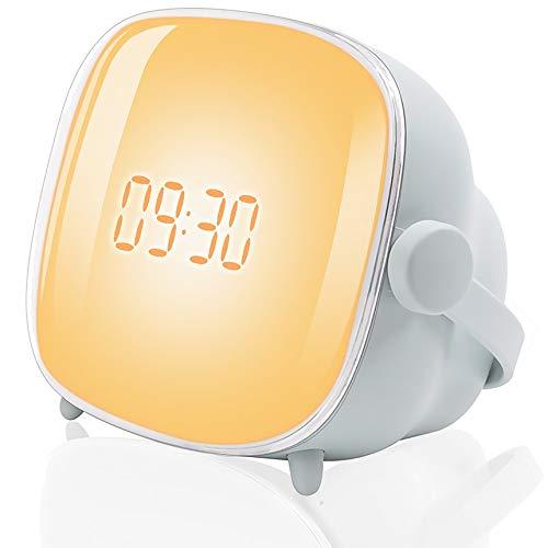 Tubeshine Wake Up Light Wecker Lampe, Kreative Tv-Nachtlicht Mit Sonnenaufgang Simulation, USB-Lade Nacht Nachttischuhr Lampe(Grau Blau)