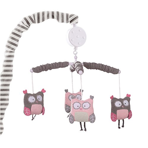 Levtex Baby - Night Owl Pink Musical Rotating Baby Crib Mobile - Fun Knit Owls - Pink, Grey, White - Nursery Accessories