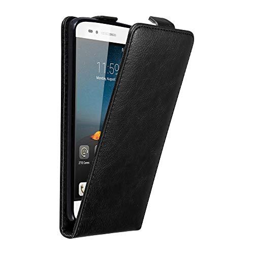 Cadorabo Hülle für ZTE Blade A612 in Nacht SCHWARZ - Handyhülle im Flip Design mit unsichtbarem Magnetverschluss - Case Cover Schutzhülle Etui Tasche Book Klapp Style