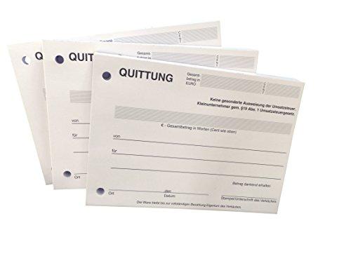 3x Block Quittung - Quittungsblock für Kleinunternehmer (§19) - 100 Blatt DIN A6 - gelocht - NICHT durchschreibend (22426)