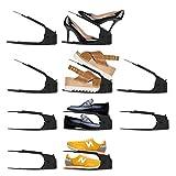 rico 靴 収納 シューズホルダー 靴ホルダー 10個セット 4段階高さ調整 省スペース 【 全6色 】 シューズポーチ付き ブラック