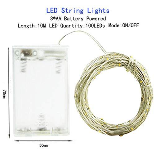 Led-lichtsnoer, 1/2/5/10 m, werkt op batterijen, warmwit, AA-batterij-10 m