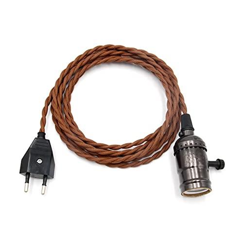 ZZSSHENG Zsheng E/U Cable del Enchufe con el Soporte de la lámpara del Vintage con el Interruptor de la Perilla 2 mersters Twisted Cable (Color : Black Black)
