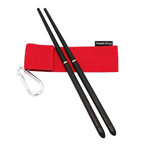 Hawk Zing Collapsible Chopsticks Rosewood/Ebony with Carry Bag Perfect for Backpacking Camp and Travel Portable Tableware with Storage Bag with Carabiner (Ebony, 1 Pair)
