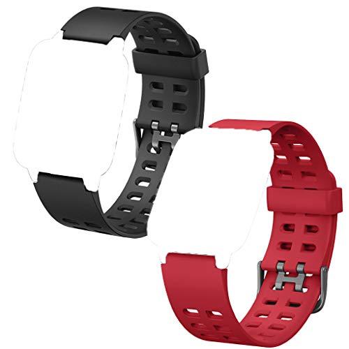 HOTSO Correas Repuesto para ID205L, Durable y Suave Silicona Banda Correa de Reemplazo (23mmm) Compatible con Pulsera Reloj Inteligente ID205, ID205L, ID205S Universal(Negro+Rojo)