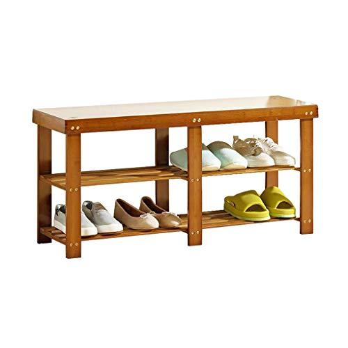ZZYE Zapatero Rack de Zapatos 2 Niveles de Almacenamiento de bambú Estantes Botas Banco Organizador Mantener Soporte Solidura Moderno Moderno Moderno Asiento Superficie Perchero Zapatero