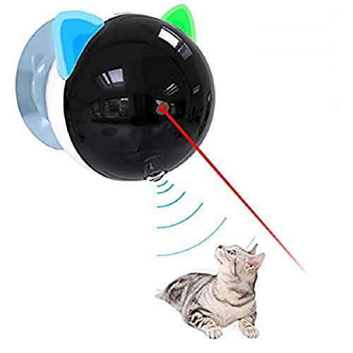 Decdeal Katzenspielzeug Automatisches Interaktives LED-Licht Spielzeug mit Basis Federspielzeug USB Wiederaufladbar Induktionserkennung Wandmontage