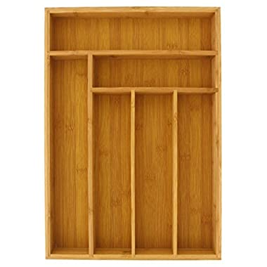 Drawer Organizer - Bamboo Drawer Organizer - Large Bamboo 6 Slot Silverware Drawer Dividers - Flatware Tray - 17 Inch