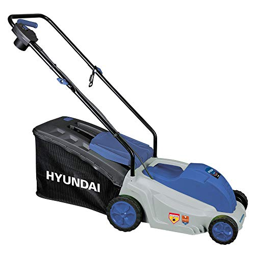 Hyundai 65460 Rasaerba elettrico a spinta per il taglio del tuo prato, 1600 W, 230 V, Grigio/Blu