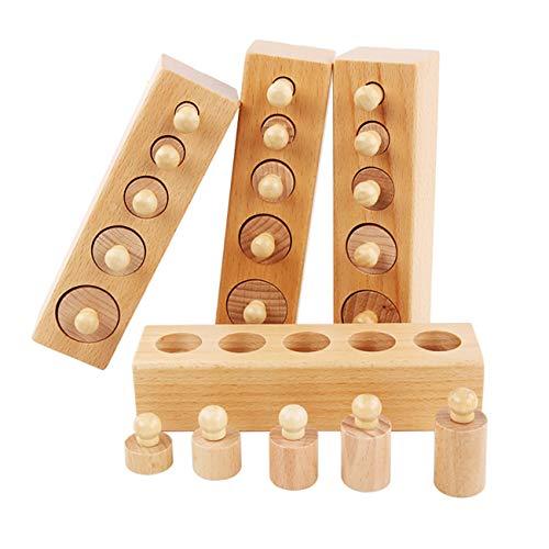 LKOER Zoccolo cilindrico sferico, Cilindro a gas in legno trapezoidale, Giocattoli in legno per bambini, Giocattoli in legno Montessori