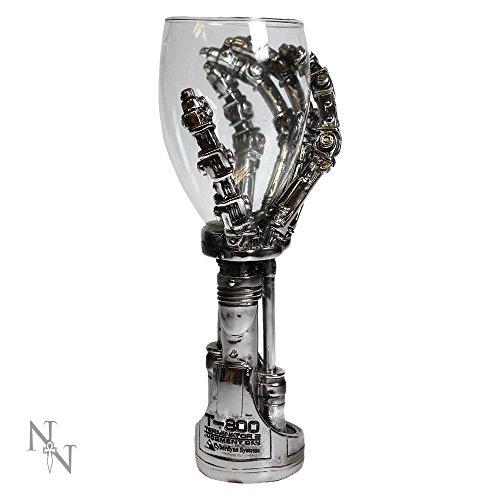 Nemesis Now Terminator Handkelch, 19 cm, silberfarben, Kunstharz mit Edelstahleinsatz, Einheitsgröße