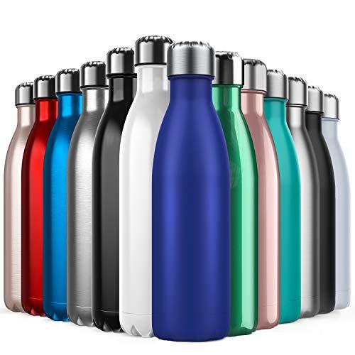 BICASLOVE Vakuum Isolierte Edelstahl Trinkflasche - 500ml, Die Thermoskanne hält 18 Stunden heiß und 24 Stunden kalt für Kinder, Kleinkinder, Schule, Sport, Outdoor, Fitness,Büro(Dunkelblau)