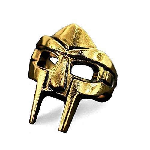 Anillo de máscara de gladiador, anillo de máscara Mf Doom, Diseño de Anillo de máscara de Jason Anillo de metal retro, anillo de gladiador punk de acero inoxidable para hombres y mujeres (Gold, 10)