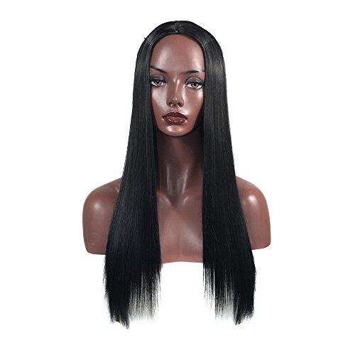 Perruques Bresiliennes Cheveux Naturels Noir Long Cheveux Raides Sexy Mode Pas Cher Postiches Party Wig Hair (Noir)