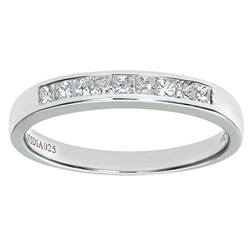 Naava Women's 9 ct White Gold 0.25 ct Princess Cut Diamond Channel Set Half Eternity Ring, Size L