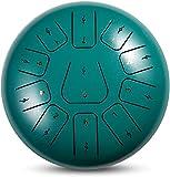 Tambor de la lengua de acero Tambor de la lengüeta de acero, tambor etéreo de 10 pulgadas, instrumento de percusión de 11 escala con palillos, kit portátil y tutorial de puntuación musical para el ren