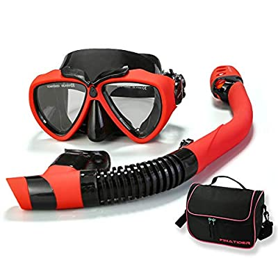 FinaTider 2020 New Snorkel Mask Diving Mask Panoramic Wide View Watertight and Anti-Fog Lens Mask Dry Top Collapsible Snorkel Professional Snorkeling Set Adult Youth