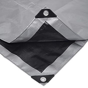 Laneetal Bâche de Protection en polyéthylène 280g/m² bâche imperméable Gris+Noir avec ½illets Couverture de Haute densité 2x3m