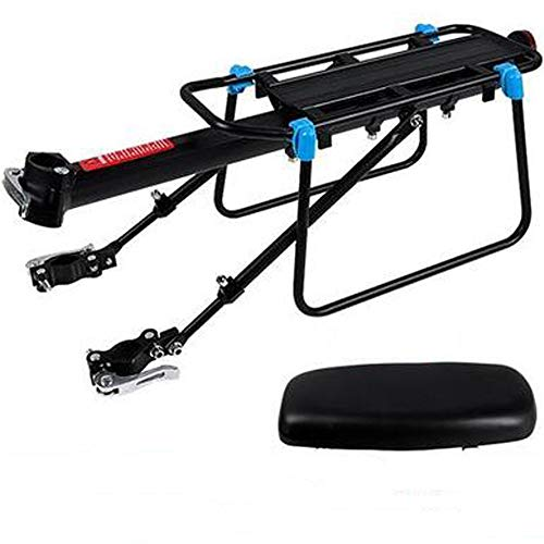 Bike Rear Rack Mount - Bicycle Back Seat Pannier Luggage Backpack Cargo Basket Carrier with Taillight Mount for Road MTB Mountain Folding Bike