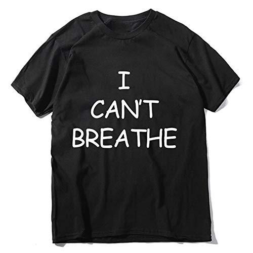 S-Chihir Lettre Coton Casual Imprimer T-Shirt Adulte Homme - Je ne Peux Pas Respirez Shirts Lives Noir Matter Justice for George Floyd Imprimer Tshirt Casual été 100% Coton à Manches Courtes Tops