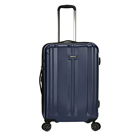 Traveler's Choice La Serena Polycarbonate Hardside Expandable Spinner Luggage, Blue, Checked-Medium 26-Inch