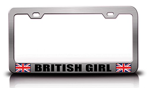 BRITISH GIRL Country Flag Steel Metal License Plate Frame Ch. # 6