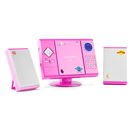 oneConcept V-12 - Stereoanlage, Kompaktanlage, Microanlage, für Kinder, mit Sticker-Set, MP3-fähiger CD-Player, UKW/MW-Radiotuner, MP3-fähiger USB-Port, SD-Slot, AUX-In, Wandmontage, pink