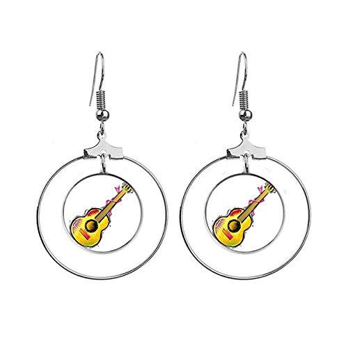 Instrument Gitaar Mexicon Element Illustratie Oorbellen Dangle Hoop Sieraden Drop Cirkel