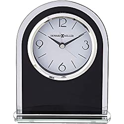 Howard Miller Ebony Luster Table Clock 645-702 – Modern Glass with Quartz, Alarm Movement