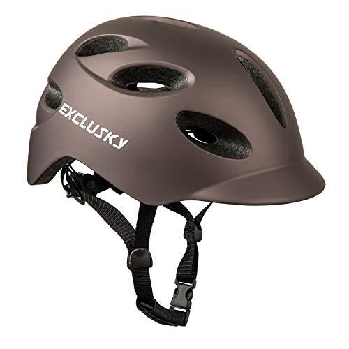 Exclusky Casco de bicicleta para adultos con luz de seguridad USB recargable...