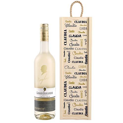 Herz & Heim® Personalisiertes Wein-Geschenk mit Weißwein zur Auswahl - edles Geburtstagsgeschenk Grauer Burgunder