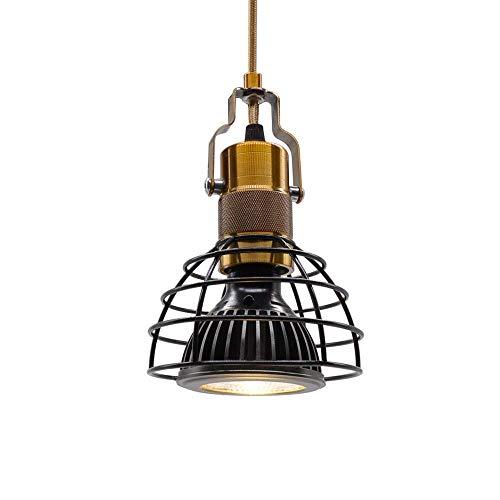 Zlinin, lampada da soffitto a incasso, lampada da soffitto, stile vintage, con gabbia nera, per soggiorno, ristorante