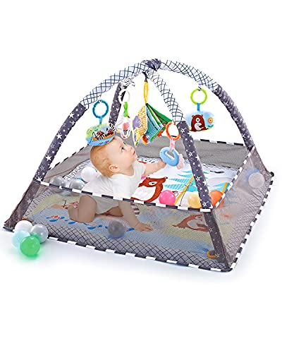 Lexacon Baby Play Gym, Baby Play Mat Newborn with Padded Base Lightweight Foam Stand, 5 Hanging Toys and 18 Ocean Balls Washable Playmats & Floor Gyms for 0-36 Months, 80x80x55CM with Portable Bag