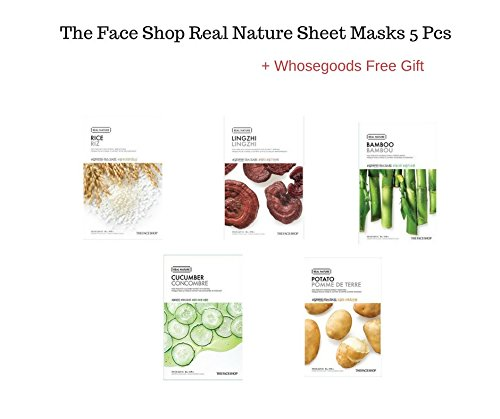 The Face Shop Real Nature sheet masks 5 pieces + FREE GIFT (Cucumber, Bamboo, Rice Linghzi, Potato)