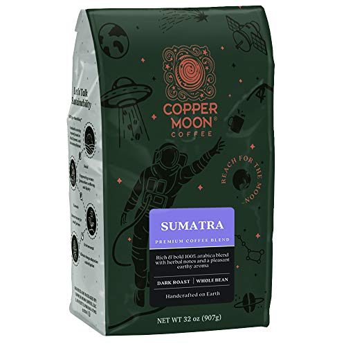 Copper Moon Sumatra Blend, Dark Roast, Whole Bean Coffee, Sumatra Dark, 32 Ounce