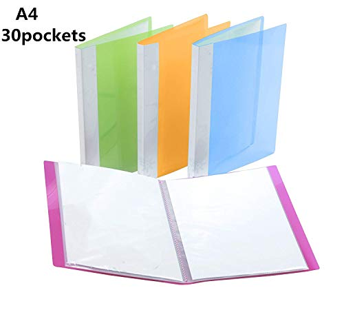 Carpeta Fundas Plastico,Funda Plástica Archivadora 4 unidades A4 30 bolsillos Colores Surtidos Carpeta Polipropileno con Tapa Blanda