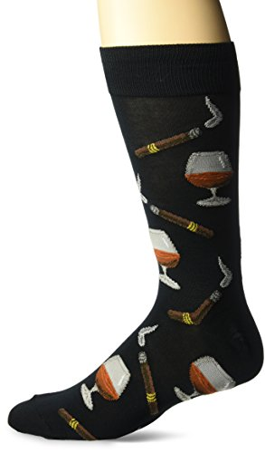 Hot Sox Men's Conversational Slack Crew Socks, Cognac/Cigars (Black), Shoe Size 6-12 / Sock Size 10-13
