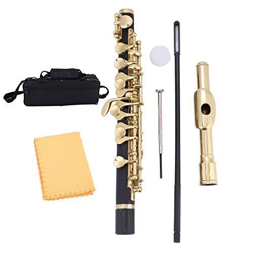 【𝐒𝐞𝐦𝐚𝐧𝐚 𝐒𝐚𝐧𝐭𝐚】 Piccolo C Key, flautín Plateado de tamaño Medio flautín Ottavino C Key Tone con Estuche Acolchado, Varilla y paño de Limpieza, Grasa de Corcho, Regalos para Estudiantes Princ