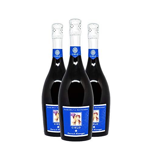 Montemaggio - Vino Spumante Bianco Biologico Toscano Extra Dry | Cielo di Montemaggio | IGT Cuvee Brut | Fresco, Fruttato, Leggero, Elegante | 100% Chardonnay | IGT | Regalo per Amanti del Vino | 0.75