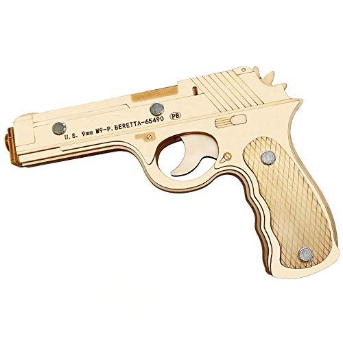 XWEM 3D Puzzle de Madera Pistolas de Banda de Goma Adulto, Pistola de Pistola mecánica Kits de Modelo de Pistola de Corte láser Modelo de construcción Kits de construcción Ciencia Juguete Educativo