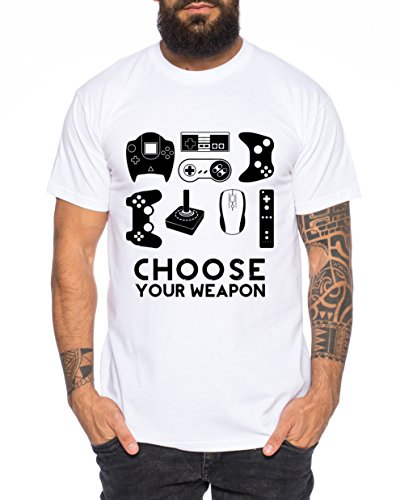 Choose Your Waepon Camiseta de Hombre Gamer Play Sport Station Controller PS Game, Farbe2:Weiß;Größe2:XL