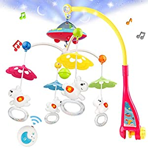 Baby Musical Crib Mobile with Hanging Rotating Toys, Remote Control, Lights Projector Function Music Box, Cartoon Rattles for Babies Boy Girl 0-24 Months, Newborn Sleep with 108 Melodies