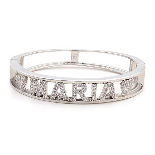 Bracciale con nome donna ragazza lettere personalizzate modello manetta regalo in argento 925 Placcato in oro bianco con zirconi