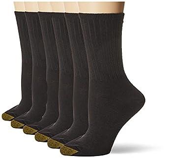 Gold Toe Women s Casual Ribbed Crew Socks 6-Pairs Black Medium