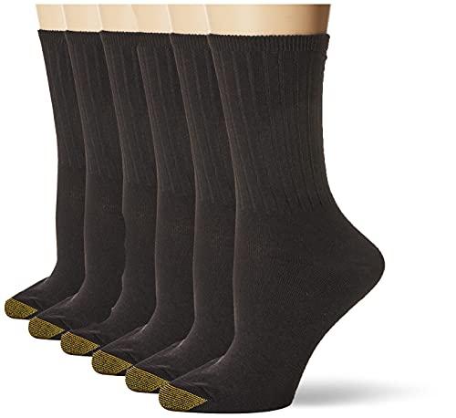 Gold Toe Women's Casual Ribbed Crew Socks, 6-Pairs, Black, Medium